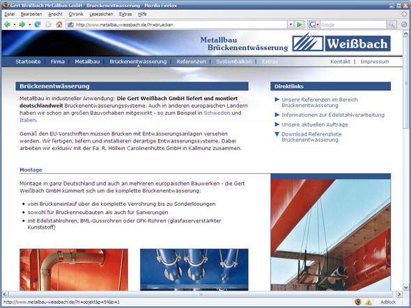 Screenshot www.metallbau-weissbach.de